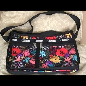 Lesportsac black and floral cross-body bag